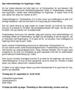 "Velkomstbrevet fra Frederiksberg , hvor de skriver at ""Frederiksberg Kommune har allerede rigtig god erfaring med velkomstboliger """